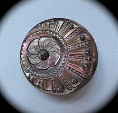 Ornate Victorian Carved Pearl Button Cut Steel Rivets