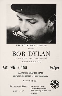 Bob Dylan concert poster for his first New York concert, November 1961.