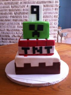 Minecraft cake for a 9th birthday.