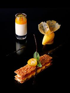 Stylish desserts by the Chef Jérôme Manifacier and the Pastry Chef Emmanuel Lebled for the restaurant of the hotel de la Paix in Geneva #plating #presentation