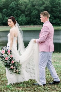 Rachel and Jacob's pastel wedding was an absolute dream! How amazing is her DIY'd bouquet? Photography: @caressarogers Diy Wedding Bouquet, Diy Bouquet, Wedding Dresses, Hot Pink Flowers, Wax Flowers, Pink Piano, Larkspur Flower, Mini Carnations, Bouquet Photography