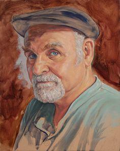 """Self Portrait in Felt Hat, 8"""" X 10"""". Oil on Panel"""