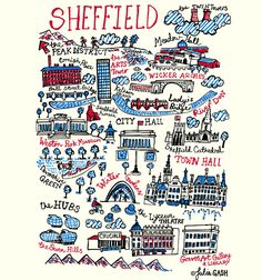 The distinctive character of Julia& home town of Sheffield is captured in this delightful Cityscape with humour and love. Julia shows us as Sheffield as a northern, British city full of civic pride (Town Hall, Winter Gardens and the City Hall). Sheffield Art, Sheffield England, Sheffield Steel, Les Deux Magots, Paris Wall Art, Travel Wall Art, Thing 1, Travel Gifts, Travel Posters