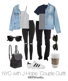 """NYC with J-Hope: Couple Outfit"" by btsoutfits ❤ liked on Polyvore featuring adidas, Topshop, Levi's, CYCLE, Uniqlo, MKI Miyuki-Zoku, BCBGeneration and Ray-Ban"