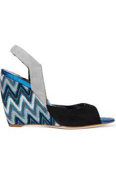 RUPERT SANDERSON Zara Crocheted, Suede And Pvc Wedge Sandals. #rupertsanderson #shoes #sandals