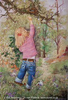 Di Van Niekerk - girl reaching - silk ribbon embroidery