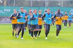 The team of Werder Bremen on the new soccer field of Gloria Hotels & Resorts in Belek.