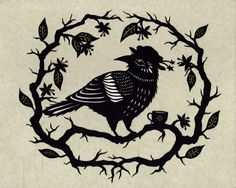 8 x 10 inch paper cutting. Framed and matted to 11 x 14 inches. Inspired by The Crows of Pearblossom by Aldous Huxley. www.ruralpearl.com