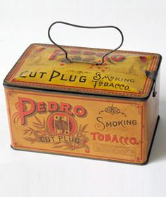 Antique American Advertising Tin Litho Pedro Smoking Tobacco Tin