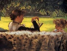 Jacques-Joseph Tissot (1836-1902) Reading a Story