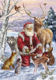 69 Ideas for vintage christmas images art deco winter scenes Christmas Scenes, Noel Christmas, Christmas Animals, Father Christmas, Winter Christmas, Christmas Crafts, Christmas Decorations, Christmas Pillow, Country Christmas