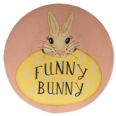 Primitive Country Wooden Plate FUNNY BUNNY Summer Easter Spring Rustic