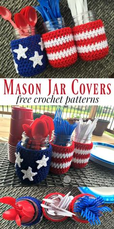 """These Patriotic Mason Jar Cover Patterns are Free and Adorable! Nothing says """"summer"""" like red, white and blue Patriotic Mason Jar Covers. Whip some up today with this free pattern. Crochet Kitchen, Crochet Home, Free Crochet, Quick Crochet, Crochet Summer, Mason Jar Projects, Mason Jar Crafts, Mason Jar Cozy, Mason Jars"""