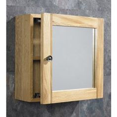 Looking for a chic wall mounted mirrored wall cabinet for a bathroom or cloakroom? This Solid Oak Wall Mounted Single Door Bathroom Mirror Cabinet is perfect. Bathroom Basin Cabinet, Oak Bathroom Cabinets, Oak Bathroom Furniture, Bathroom Mirror Storage, Oak Bathroom Vanity, Mirror Cabinets, Wood Bathroom, Vanity Cabinet, Wall Mirror
