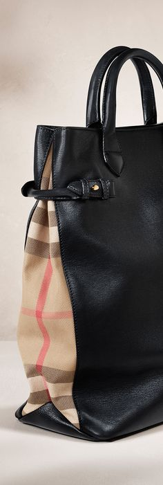 Check panelling on a large leather tote bag from the Burberry S/S14 accessories collection