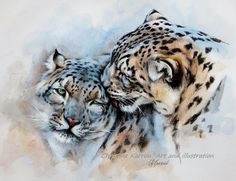 """Unconditionally"" - Snow Leopards mixed media (pencil, watercolor, colored pencils and acrylic) on paper, 8x10 inches"