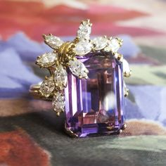 Vintage Estate 17.13ct t.w. Amethyst & Marquise Diamond Cocktail Anniversary Ring 18k   Antique & Estate Jewelry   Jewelry Finds