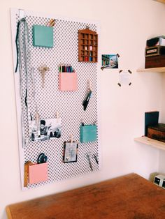 #studio #study #home #office #pegboard #pink # green #shelves #shelving #craft #space # creative #sewing #room #desk #storage