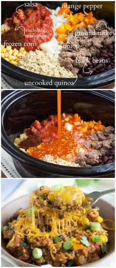 A simple, slow cooker meal - cheesy enchilada quinoa I www.chelseasmessyapron.com I #slowcooker #quinoa #cleaneating