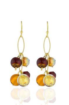 Cella Bella Jewelry - CB Vermeil Dangle Earrings - Red & Gold