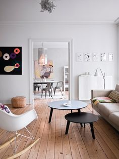 """""""..Jewelry designer Stine A. Johansen has decorated her family's apartment in a pretty mix of flea market finds, design classics and beautiful modern art — plus her own jewelry, making for space of relaxed elegance. """""""