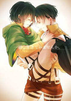 One of the FEW pics I've seen of Levi x Mikasa I like and FTR I don't ship them