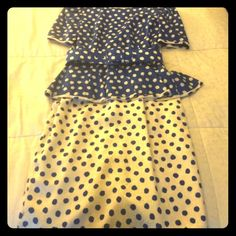 Vintage Blue and White Polka Dot Silk Dress Beautiful vintage silk dress with peplum. Original shoulder pads removed. Form fitting. Runs small as typical with vintage clothing. Make an offer! St. Gillian Silks Dresses
