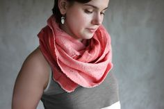 Felted cowl scarf red circle merino wool neck warmer vintage rose women scarf pink cotton spring scarf infinity - handmade to order