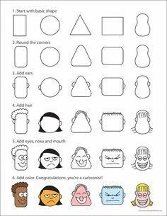 Cartoongesichter zeichnen: Vorlage, um Cartoongesichter zu zeichnen, für Kinder und alle, die gerne doodeln.