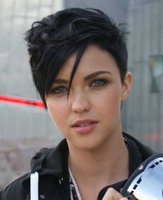 Girls Dark Hairstyle for Short Pixie Hair