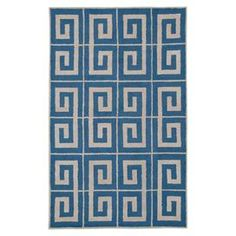 New Zealand wool rug with a Greek key pattern in blue. Hand-tufted in India.  Product: RugConstruction Material: 100% New Zealand woolColor: BlueFeatures: Hand-tuftedMade in IndiaNote: Please be aware that actual colors may vary from those shown on your screen. Accent rugs may also not show the entire pattern that the corresponding area rugs have.