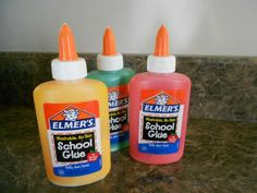 Glue paint- food coloring and glue.