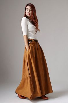Woman Clothing Maxi Skirts. Linen Blend with Contrast Patchwork Detail & Pockets. Handmade Trendy, Modern, Bohemian Chic Style…  8 Gorgeous Colors