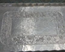 Everlast Aluminum Hand Forged Floral Tray with Handles 1940 Era