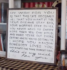 My Wish For You Wood Framed Sign by WillowHillSigns on Etsy