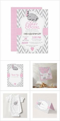 Baby Pink and Gray Baby Shower Elephant Invitation Collection One of Zazzle most popular baby product designs. Featuring a gray chevron and pastel baby pink with a cute baby elephant design. Lots of products available...if you need this design on any other item...please feel free to contact me.