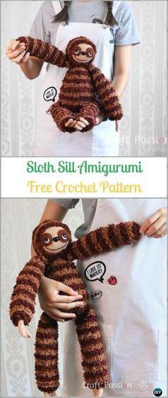Amigurumi Crochet Sill Sloth Free Pattern-Crochet Sloth Amigurumi Toy Softies Free Patterns