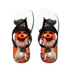 Halloween French Bulldog Flip Flops