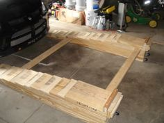 Car Ramps by erobe05 -- Homemade car ramps constructed from lumber. Caster-fitted for enhanced mobility. http://www.homemadetools.net/homemade-car-ramps-4