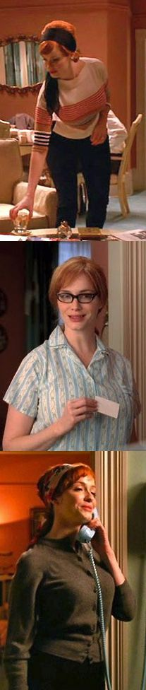 Joan's 'at home' causal clothes from Mad Men. Costume Designer: Janie Bryant