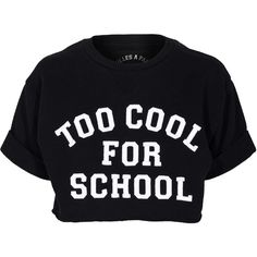 Filles a papa School Sweat Black Cropped sweater with print (105 AUD) ❤ liked on Polyvore featuring tops, t-shirts, shirts, crop tops, ribbed t shirt, short-sleeve shirt, pattern t shirt, loose t shirt and loose fit t shirts