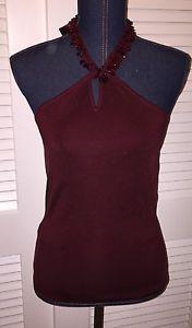 Ann Taylor Silk Blend Knit Beaded Ribbon Halter Top Aubergine Medium ��stunning | eBay