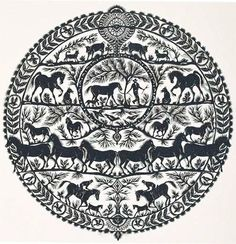 paper cuts horses - 'Silent Sunday' by artist Catherine Winkler, 14 x 14 inches