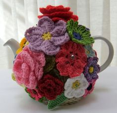 Hand knitted 4 cup cottage garden tea cosy by Handmadewithlove66, £17.00