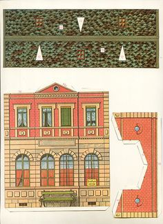 gare by pilllpat (agence eureka), vintage package card papers Christmas Village Houses, Putz Houses, Paper Doll House, Paper Houses, Paper Structure, Paper Architecture, Glitter Houses, Vintage Paper Dolls, Paper Models