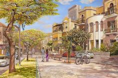 Blossoming Rothschild Boulevard, Tel Aviv- Painting by Alex Levin