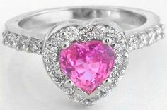 Platinum Heart Pink Sapphire Diamond Ring