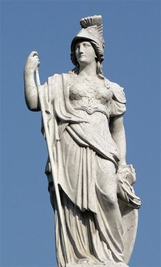 Athena is the Greek virgin goddess of reason, intelligent activity, arts and literature. Athena is the daughter of Zeus. She sprang full grown in armour from his forehead, thus has no mother.