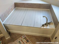 """If you have a tub or garden tub but are not a """"bathtub"""" kinda person this projec. - If you have a tub or garden tub but are not a """"bathtub"""" kinda person this project might be for y - Bathtub Cover, Bathtub Shelf, Bathtub Storage, Wood Bathtub, Diy Bathtub, Concrete Bathroom, Bathroom Faucets, Hidden Tv Cabinet, Diy Drum Shade"""