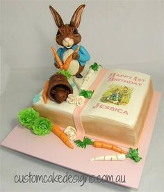 Peter Rabbit Book Cake - Cake by Custom Cake Designs Peter Rabbit Books, Peter Rabbit Cake, Peter Rabbit Party, Open Book Cakes, Beatrix Potter Cake, Gateaux Cake, Creative Desserts, Novelty Cakes, Cupcake Cakes